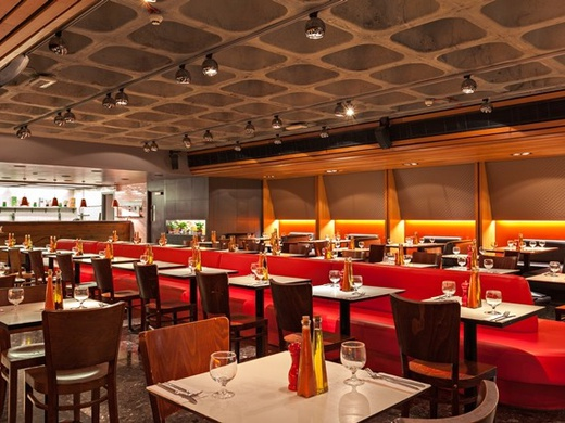 Waitress with free meal at Fire & Stone-